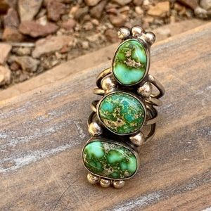 Navajo Sonoran Gold Turquoise & Sterling Ring 5.5